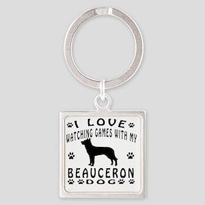 Beauceron designs Square Keychain