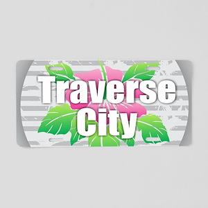 Traverse City - Hibiscus Aluminum License Plate