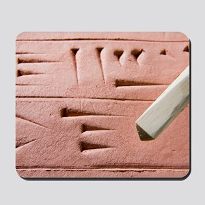 Cuneiform clay tablet and stylus Mousepad