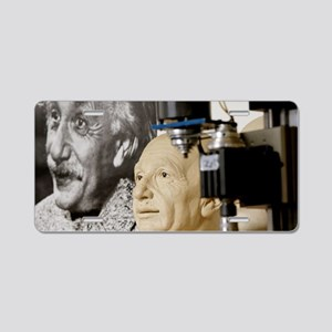 Albert Einstein clay model Aluminum License Plate