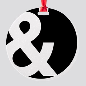 Ampersand Circle Black Round Ornament