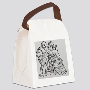 Woodcut showing woman being bled  Canvas Lunch Bag