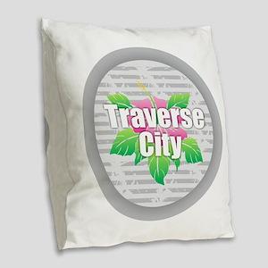 Traverse City - Hibiscus Burlap Throw Pillow