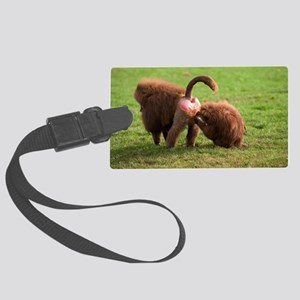 Baboons grooming Large Luggage Tag