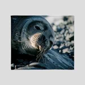 Basking Weddell seal Throw Blanket