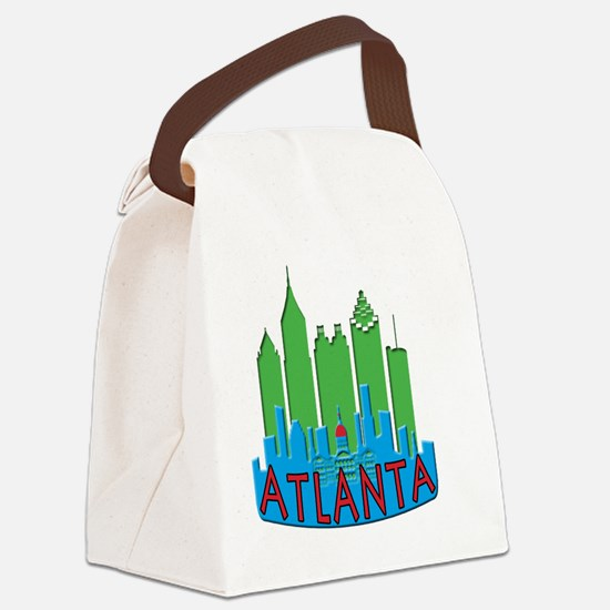 Atlanta Skyline Newwave Primary Canvas Lunch Bag