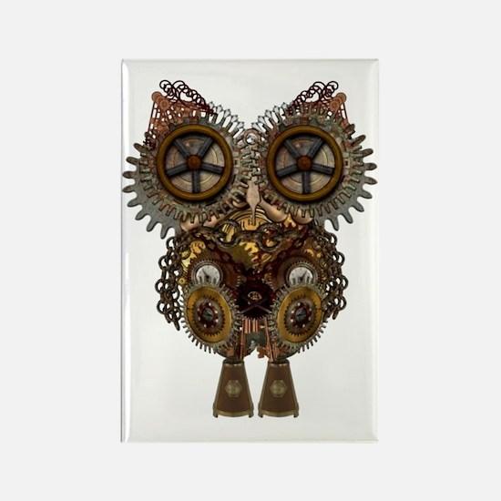 Steampunk Metallic Owl Rectangle Magnet