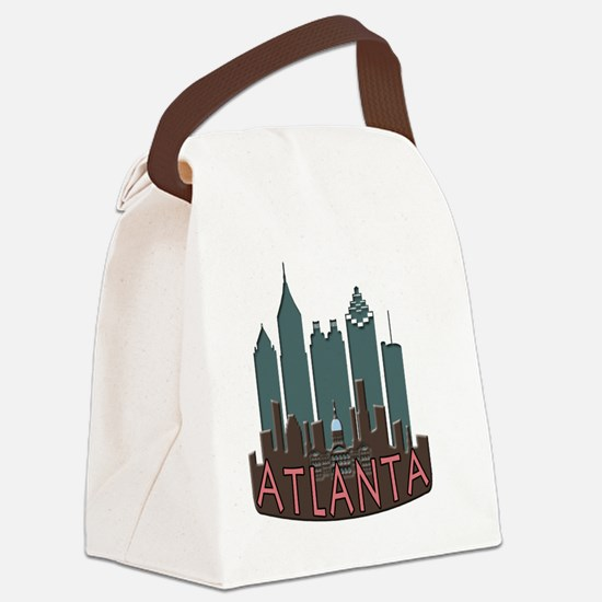 Atlanta Skyline Newwave Chocolate Canvas Lunch Bag
