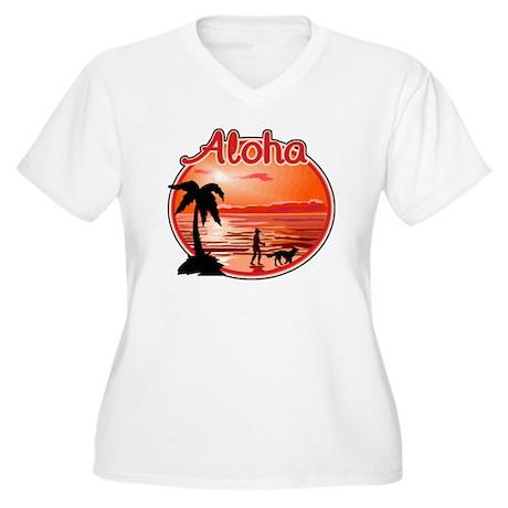 Aloha Women's Plus Size V-Neck T-Shirt