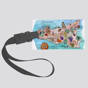 Map of Sicily Large Luggage Tag