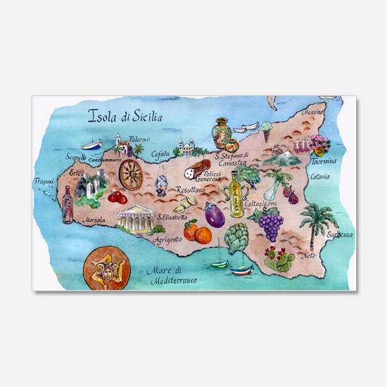 Map of Sicily Wall Decal