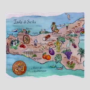 Map of Sicily Throw Blanket
