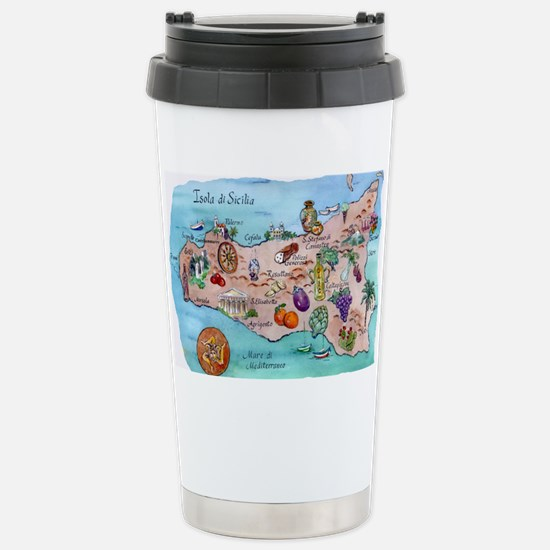 Map of Sicily Stainless Steel Travel Mug