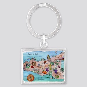 Map of Sicily Landscape Keychain