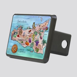Map Of Sicily Rectangular Hitch Cover