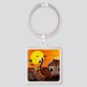 Brown Pelican at Sunset Square Keychain