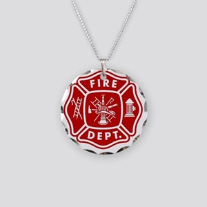 Fire Department Crest Necklace Circle Charm