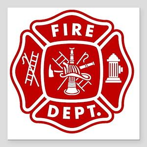 "Fire Department Crest Square Car Magnet 3"" x 3"""