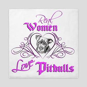 Real Women Love Pitbulls Queen Duvet
