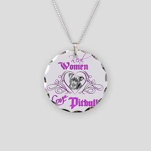 Real Women Love Pitbulls Necklace Circle Charm