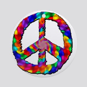 Psychedelic Peace Sign Round Ornament