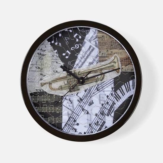 0375-sq-trumpet Wall Clock
