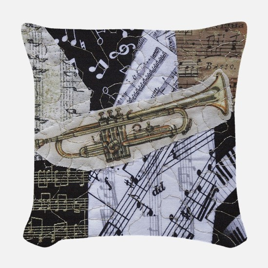 0375-sq-trumpet Woven Throw Pillow