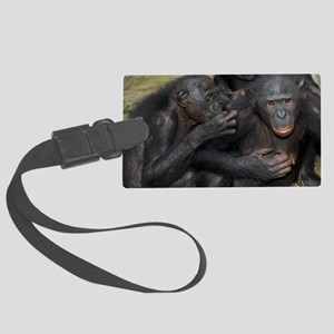 Bonobo apes grooming Large Luggage Tag