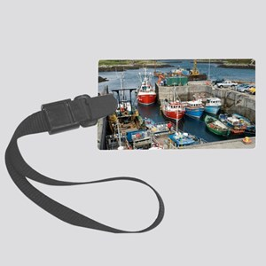 Boats in a harbour Large Luggage Tag