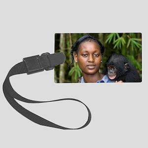 Bonobo ape conservation Large Luggage Tag