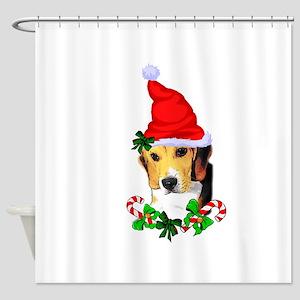 Beagle With Santa Hat Shower Curtain