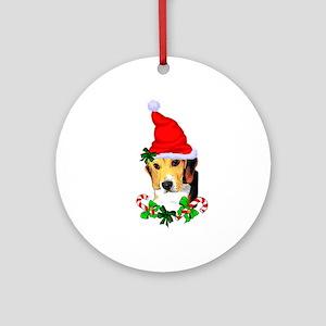 Beagle With Santa Hat Round Ornament