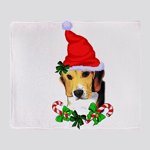 Beagle With Santa Hat Throw Blanket