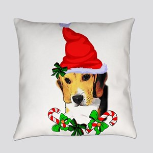 Beagle With Santa Hat Everyday Pillow