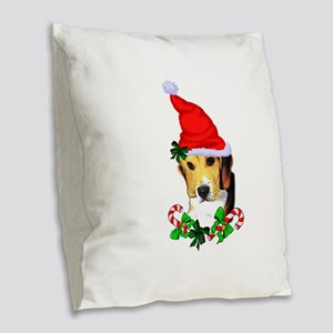 Beagle With Santa Hat Burlap Throw Pillow
