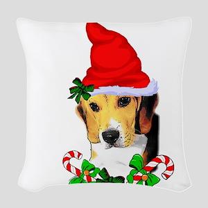 Beagle With Santa Hat Woven Throw Pillow