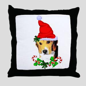 Beagle With Santa Hat Throw Pillow