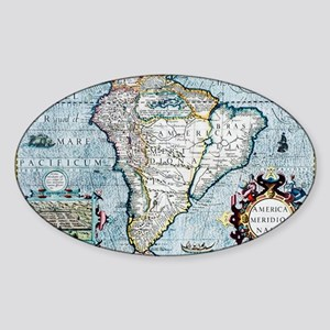 17th century map of South America Sticker (Oval)