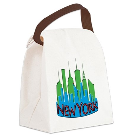 NYC Skyline NewWave Primary Canvas Lunch Bag