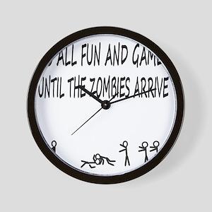 Fun and Games black print Wall Clock