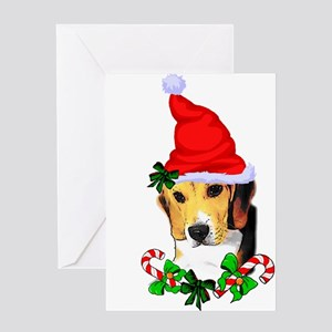 Beagle With Santa Hat Greeting Cards