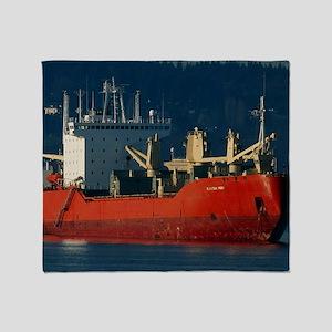 Cargo ship at anchor, Vancouver Throw Blanket
