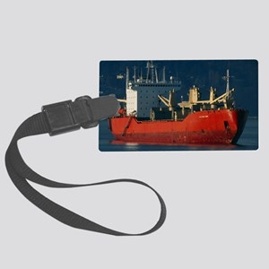 Cargo ship at anchor, Vancouver Large Luggage Tag