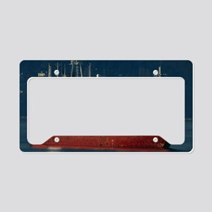 Cargo ship at anchor, Vancouv License Plate Holder