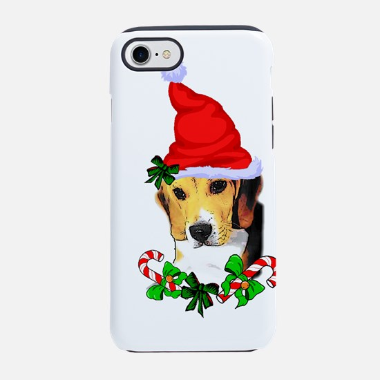 Beagle With Santa Hat iPhone 7 Tough Case