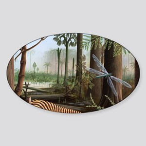 Carboniferous insects, artwork Sticker (Oval)
