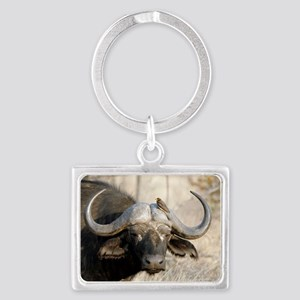 Cape buffalo and yellow-billed  Landscape Keychain