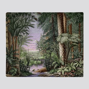 Carboniferous landscape Throw Blanket