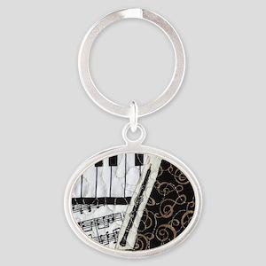 0505-laptop-oboe Oval Keychain