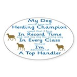 Herding Top Handler Oval Sticker